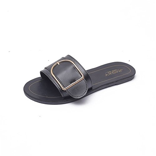 Sandals Wide Band Summer Slide with Twist Knot Flat(Black-36/5.5 B(M) US Women)