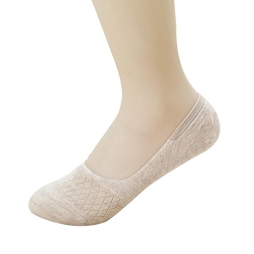 Lamolory Thin Casual No Show Socks Non Slip Flat Boat Line Lace Floral (Khaki, Large)
