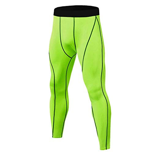Men Compression Tops Tight Trousers Training Workout Long Sleeve Shirts Long Pants Green]()
