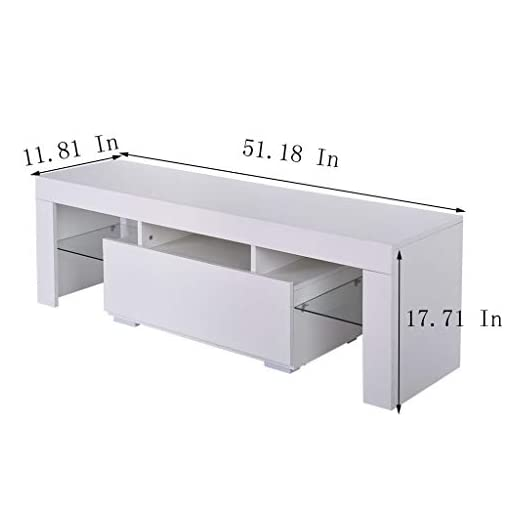 Living Room melupa Modern White TV Stand, 12 Colors LED TV Stand w/Remote Control Lights,High Gloss TV Cabinet w/Storage & Drawers… modern tv stands