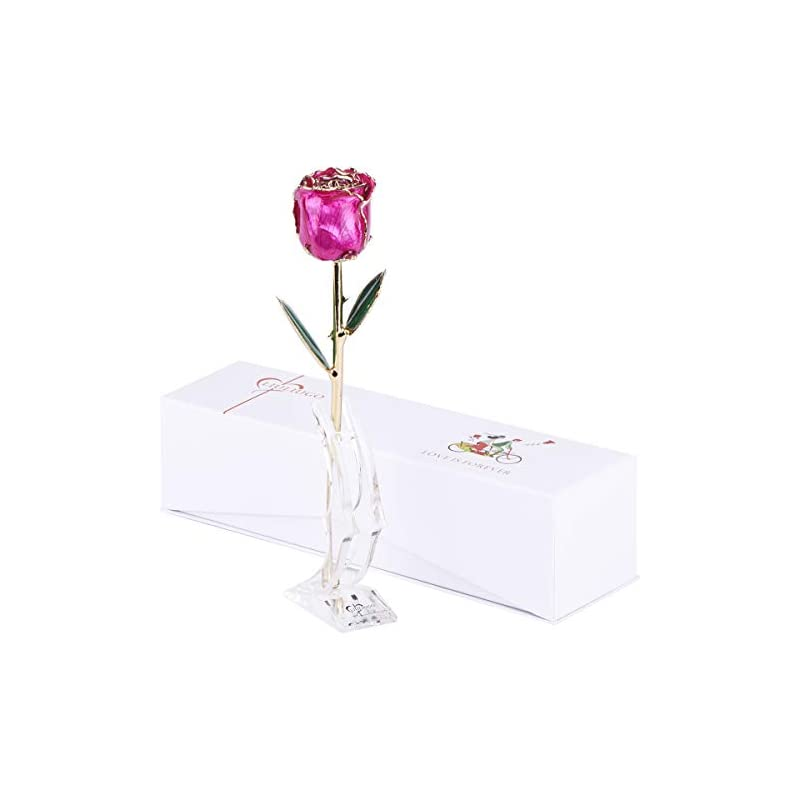 silk flower arrangements liuliugo gifts for her-24k gold rose made from real fresh long stem rose flower,best gift for valentine's day, mother's day,christmas day, anniversary, birthday (f.deep pink)