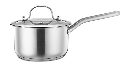 2qt Saucepan, P&P Chef 18/10 Stainless Steel Saucepan with Lid, Covered Saucepan with Tri-ply Induction Base - Dishwasher Safe (Base Covered)