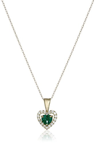 10K Yellow Gold Created Emerald Heart with Created White Sapphire Pendant Necklace, (10k Gold Emerald Heart)