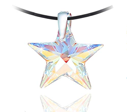 (Royal Crystals Star Choker Necklace Sterling Silver 925 Pendant Necklace on a Black Leather Rope Made with Blue Aurora Borealis Swarovski Crystals, Adjustable)