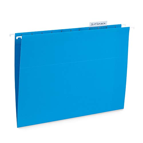 Blue Summit Supplies Hanging File Folders, 25 Reinforced Hang Folders, Designed for Home and Office Color Coded File Organization, Letter Size, Blue, 25 Pack Color Coded Colored File Folder
