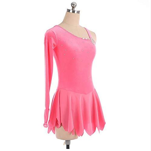 Figura Abbigliamento Vestito Donne Pink Di Jryyue Lunga Gara Allenamento Competizione Pattinaggio Per Manica q6fWF