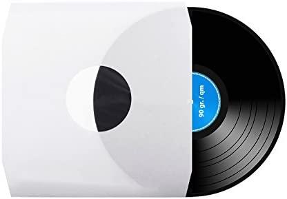 50 unidades, 30 cm, tocadiscos, LP, vinilo, interior forrado, fundas, antiestático, color blanco, 90 g/qm de xi-media®