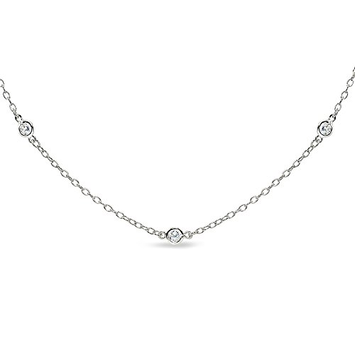 (GemStar USA Sterling Silver Cubic Zirconia Station Dainty Chain Choker Necklace)