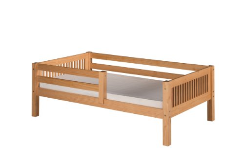 Camaflexi Mission Style Solid Wood Day Bed with Front Rail Guard, Twin, Natural