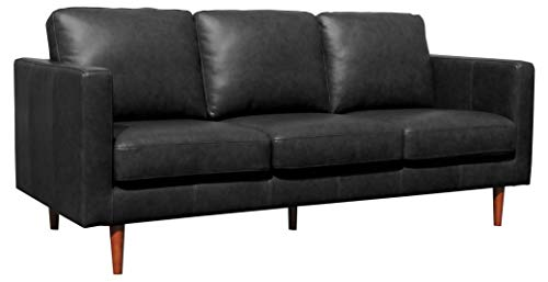 Rivet Revolve Modern Leather Sofa Couch, 80 W, Black