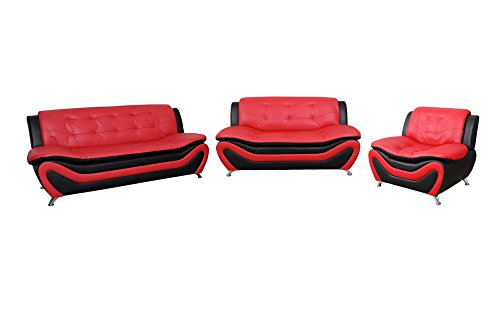Cheap Home Garden Collections 3 Piece Faux Leather Contemporary Living Room Sofa, Love Seat, Chair Set, Black/Red Product SKU: HF3002LS3