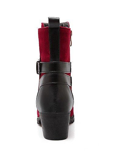 Red Eu42 Cn43 Moda Moto Tacón negro De La 5 us8 Xzz Botas Uk6 Uk8 Cn40 Mujer Eu39 5 Robusto A Zapatos Blue 5 Punta Vellón us10 Redonda Vestido Casual Semicuero 5 gqxvRwTvP