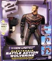 (X-Men United 12 inch Electronic Battle Action Wolverine (with snap-on battle grip for punching,kicking and claw extending action!))