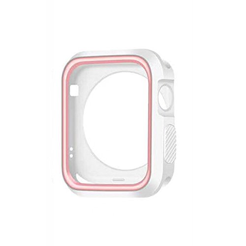 Price comparison product image Apple Watch Series 1 Case Bumper Shock-Proof & Shatter-Resistant Protector 2015 (White+Pink, 42mm)
