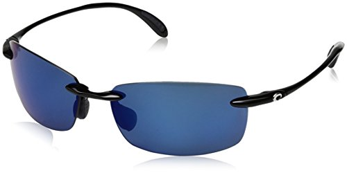 Costa del Mar BA 11 OBMP 59.6 mm Unisex-Adult Ballast Polarized Iridium Rimless Sunglasses, Black/Blue Mirror 580 Plastic ()