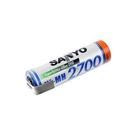 Batería Panasonic AA Mignon 2700 1,2 V Z de soldadura BK 3hgae Accu pilas Sanyo LR6: Amazon.es: Electrónica