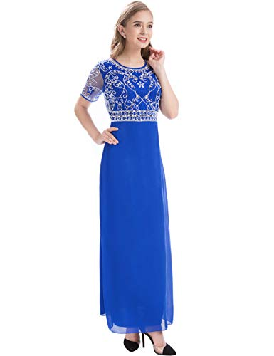 MANER Women Chiffon Beaded Embroidered Sequin Long Gowns Prom Evening Bridesmaid Dress (XL, Royal (Ladies Formal Gowns)