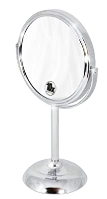 DecoBros 6-inch Tabletop Two-sided Swivel Vanity Mirror with 10x Magnification, 11-inch Height, Chrome Finish