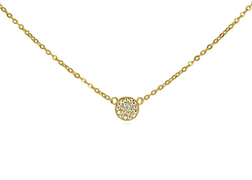Tiny CZ Pave Disk Circle Necklace .925 Sterling Silver Gold Tone Finish Adjustable Chain 16