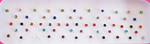 (60 Colorful 2mm Crystals Eye Bindi Sticker Pack/ Bindis/ Self Adhesive/ Fake Nose Stud/ Stick On)