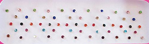 60 Colorful 2mm Crystals Eye Bindi Sticker Pack/ Bindis/ Self Adhesive/ Fake Nose Stud/ Stick On Studs