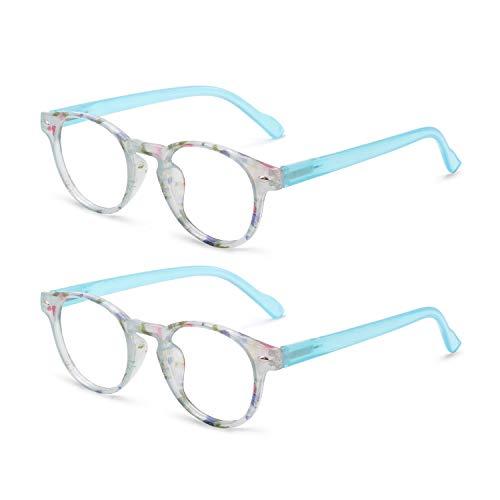 OCCI CHIARI Lightweight Designer Acetate frame Stylish Reading Glasses For Women (15006-2 Pack(Light Blue2), 1.75) (Twenty Two Glass Light)