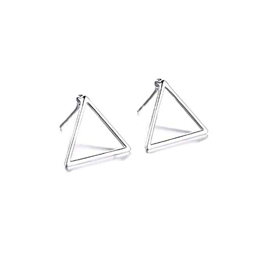 Leono 1PCS Plain Silver Triangle Stud Earrings Geometric Triangle Stud Earrings Triangle Open Pyramid Stud Earrings Stud Earrings ()