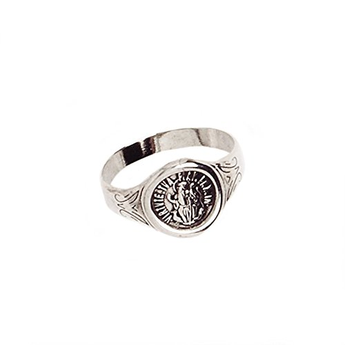 My Jewelry Spot St Benedict Seal Round Ring 14Kt Aged White Gold Filled Ring (6)