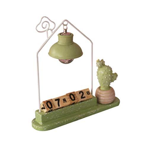 Artibetter Calendars Block Wooden Creative Resin Handicraft Cactus Light Desk Calendars Ornaments Desktop Home Decoration Gifts (Random Pattern)