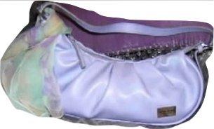Opals On Ice italia Beautiful Hobo Pleated Saddlebag Handbag (Lilac)