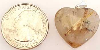 RBI Fortune Telling Toys Spiritual Supplies 1'' Rutilated Quartz Heart by RBI