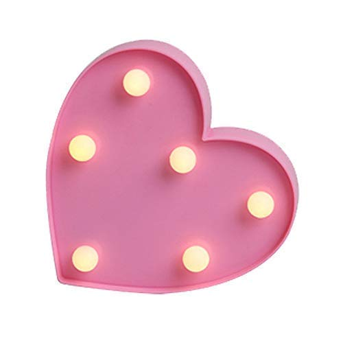 QiaoFei Romantic LED Heart Marquee Sign - Marquee Heart Lights Love Sign Wedding Gift - Lighted Signs Home Decor Wedding Party Decor Heart Sign Decor -Light Up Heart Decoration(Pink)