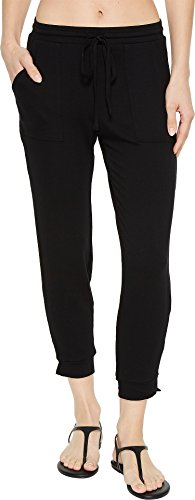 Michael Stars Women's Elevated French Terry Drawstring Pant Black Medium - French Pant Crop Terry