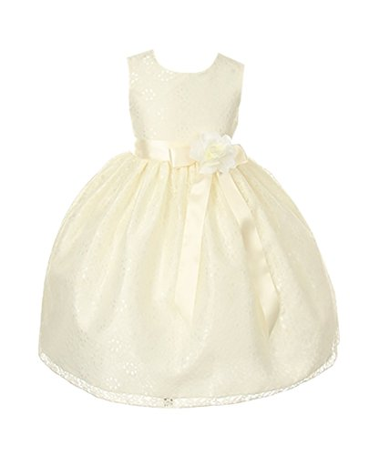 Cinderella Couture Girls Ivory Lace Dress with Ivory Sash & Flw 10 (1132)