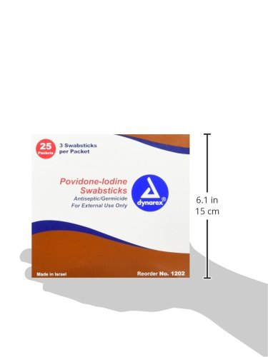 Dynarex Povidone Iodine Swabstick, 3 Swabsticks Per Packet, 25 Count box, (Pack of 10) 750 swabs total