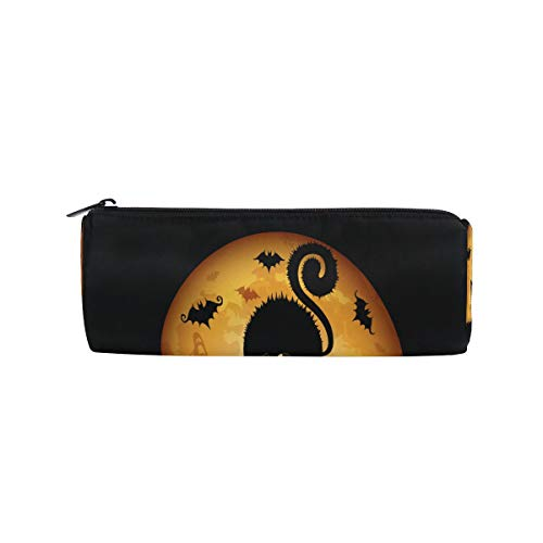 Pencil Case Halloween Cartoon Cat Wallpaper Zippered Pencil Box Round Stationery Bag Makeup Cosmetic Bag for -