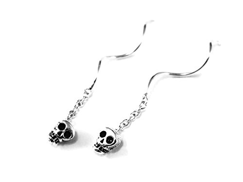 925 Sterling Silver Earring Chain Thread String Threader with Skull - India Stores Fendi In