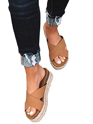 Huiyuzhi Womens Strap Espadrille Slide Sandals Open Toe Casual Slip On Crisscross Platform Beach Sandals