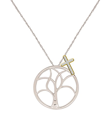 Diamond 14kt Gold Cross Necklace (Pendants for Women Tree of Life Girls Necklaces by Store Indya (Tree With Cross))