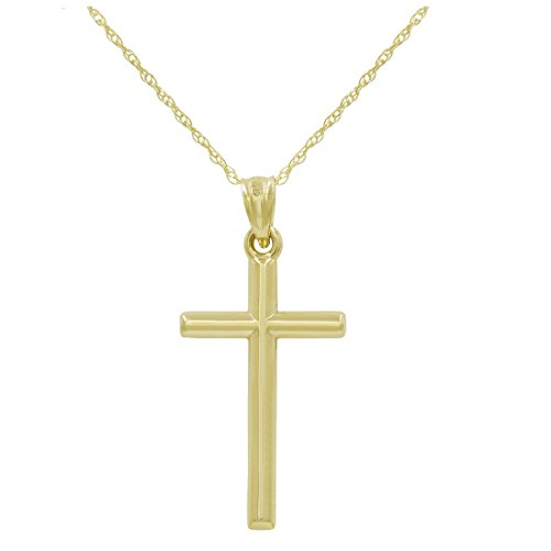 14k Yellow Gold Cross Pendant Necklace on an 18 in. chain