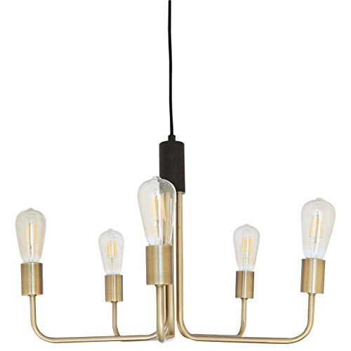 Rivet Theory Edison Bulb Chandelier, 14.5 H, With Bulbs, Black and Brass Finish