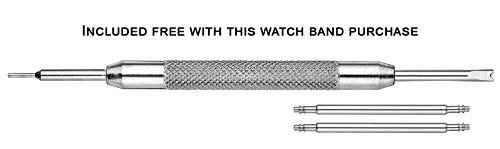 Genuine Leather Watch Band (fits Wrist Sizes 6-7 1/2 inch)- Black - 30mm by STUNNING SELECTION (Image #3)