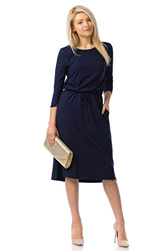 iconic luxe Women's Relaxed Midi Dress with Elastic Waist X-Large - Three Dress Sleeve Quarter