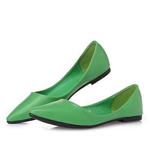 la Trabajo green Comodidad Bajos de Zapatos Baja Los señoras Color de señalaron Suaves los Zapatos Las del FLYRCX Zapatos la de del Boca del Casual Caramelo Planos UnXFtx7