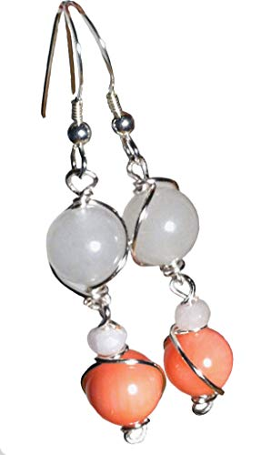 White jade, pink coral earrings; Wire wrapped bead earrings; Silver, pink peach dangle earrings; Handcrafted in Washington State;