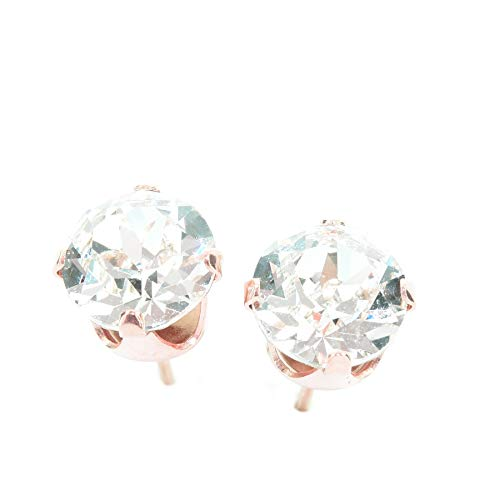 7d53c60ee 18ct Rose Gold on 925 Sterling Silver stud earrings for women made with  sparkling Diamond White crystal from Swarovski®. London jewellery box.