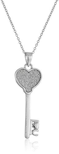 Sterling Key (Sterling Silver Glitter Heart Key Pendant Strand Necklace,)