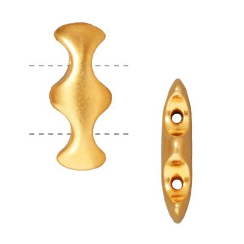 TierraCast Bright 22K Gold Plated Lead-Free Pewter 2 Hole Hourglass Strand Spacer Beads 18.5mm (2) - 2 Strand Spacer