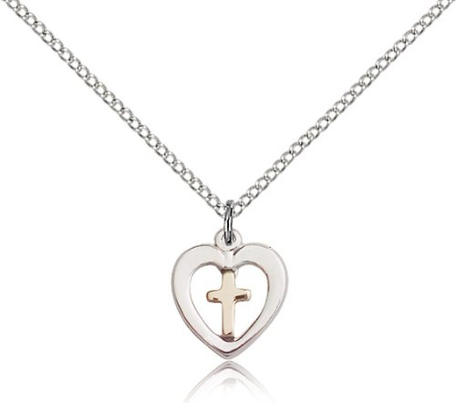 18 Chain Religious Obsession Two-Tone Gold Filled Sterling Silver Heart Cross Pendant