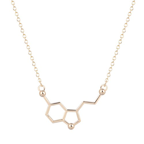 cheap Qiandi Serotonin Molecule Chemistry Geometric Pendant Necklace Minimalist Jewelry Gift for Girls Women supplies